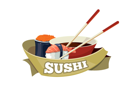 nori: sushi, traditional japan food. tamplate for cover or emblem design. Illustrations with place for your text isolate on white background Illustration