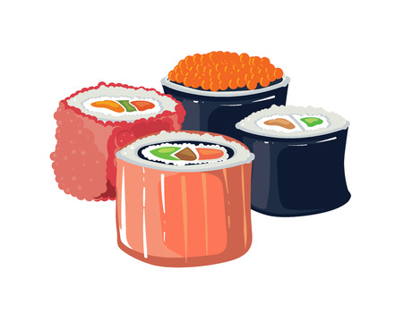 stuffing: Vector illustration set of sushi with a different stuffing. traditional japan food. Isolate on white background
