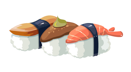 nori: Vector illustration set of shrimps with a different stuffing. Sushi traditional japan food. Isolate on white background Illustration