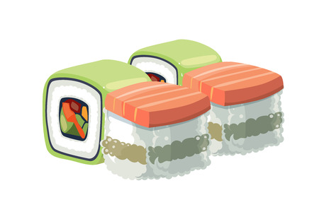 nori: Vector illustration set of shrimp and sushi with a different stuffing. traditional japan food. Isolate on white background