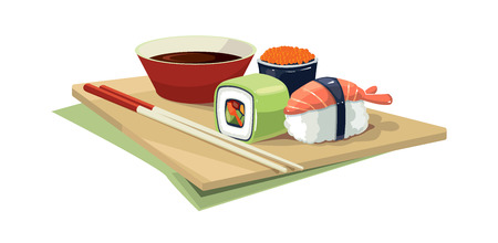 sushi  plate: Vector illustration set of traditional japan food on the plate. shrimps, sushi with a different stuffing, soy bean sauce, Chinese chopsticks. Picture Isolate on white background