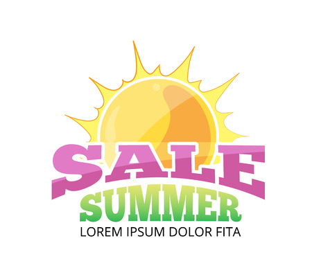 advertizing: vector label for advertizing. Emblems for big summer sales. Illustration with sun and place for your text. Pictures isolate on white background Illustration
