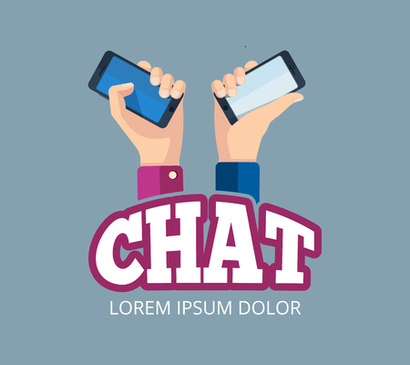 hands holding smartphones. Emblem design of web chatting. Pictures with place for your personal design on the screen. Isolate on dark background Illustration