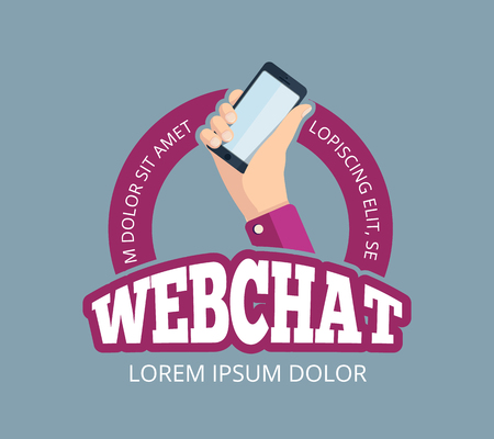 vector emblem with hand holding smartphone.  design of web chatting. Illustration Isolate on dark background Illustration