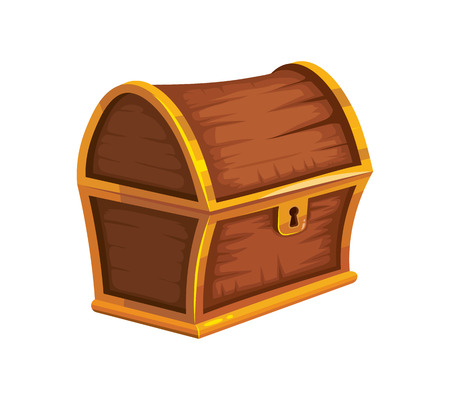 hoard: vector illustration of vintage wooden chest with closed cover. isolated on white background. Picture for 2D game UI