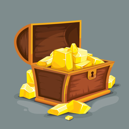 vector illustration of vintage wooden open chest with gold. isolated on dark background. Picture for 2D game UI Illustration