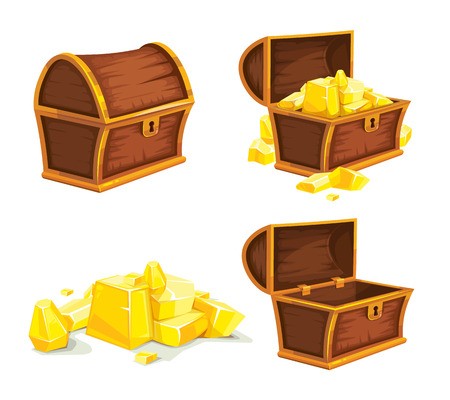 hoard: vector set of vintage wooden chest with gold, open and closed cover. isolated on white background. Picture for 2D game UI Illustration