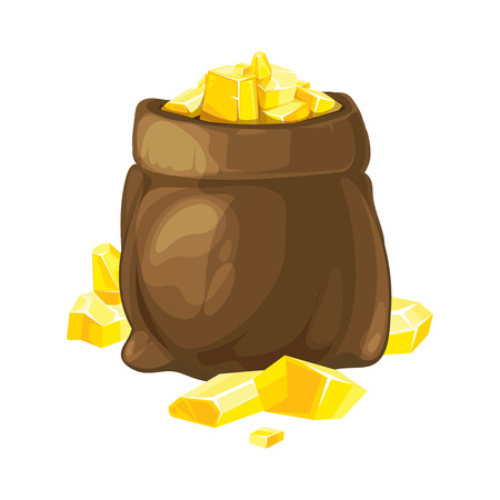 opened bag: vector illustration of bag opened with gold. Illustration isolate on white background. Tamplate for 2D game UI. Illustration