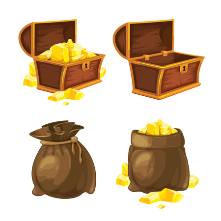 vector Set of two bags and chests opened and closed with gold. Illustrations isolate on white background. Tamplate for 2D game UI.