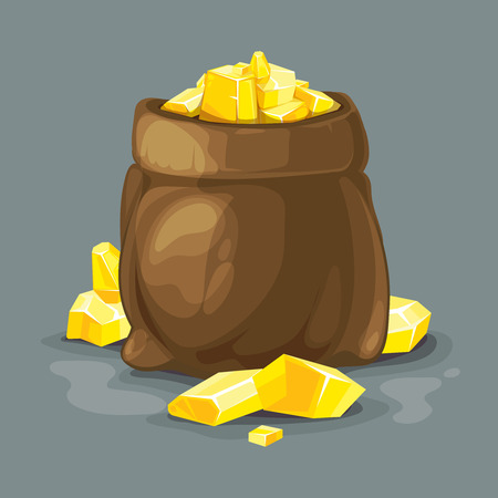 opened bag: vector illustration of bag opened with gold. Illustration isolate on dark background. Tamplate for 2D game UI.