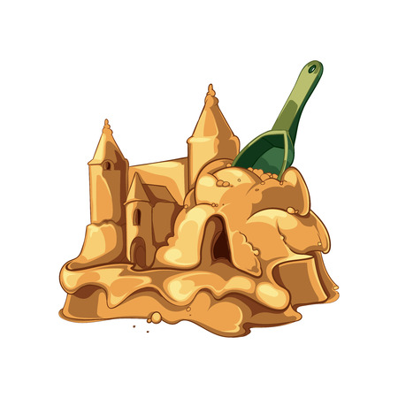 Vector illustration of sand castle with shovel isolate on white background.