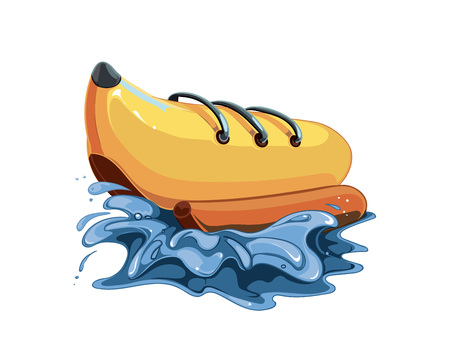 inflatable: vector illustration of inflatable boat banana in the watter sea. Picture isolate on white background.