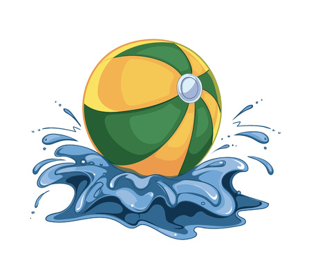 vector illustration of inflatable ball in the watter. Picture isolate on white background