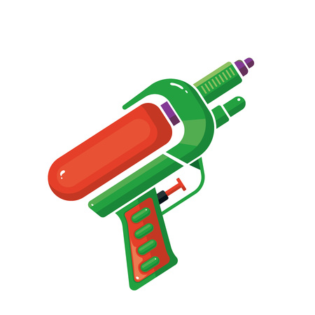 Vector Cartoon illustration of Water Gun Isolated On White Background. Toy for active kids. Icon picture for your web or game design projects.