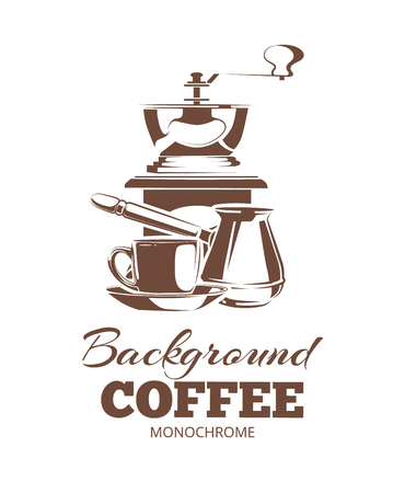 cezve: vector illustration of monochrome coffee ellements for labels, badges. Illustrations isolate on white background. Picture with place for your text Illustration