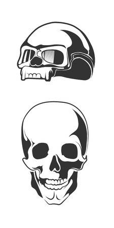 eye socket: vector illustration of human skull. motorcycle helmet for bikers. Monochrome pictures isolate on white background. Illustration