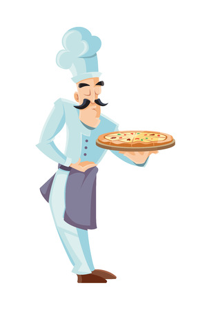 vector illustration of itallian cook holding tray with pizza. Picture isolated on white background