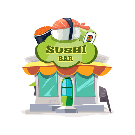 hong kong street: vector illustration of sushi bar or chinese restaurant building facade. Picture Isolated on white background. Illustration