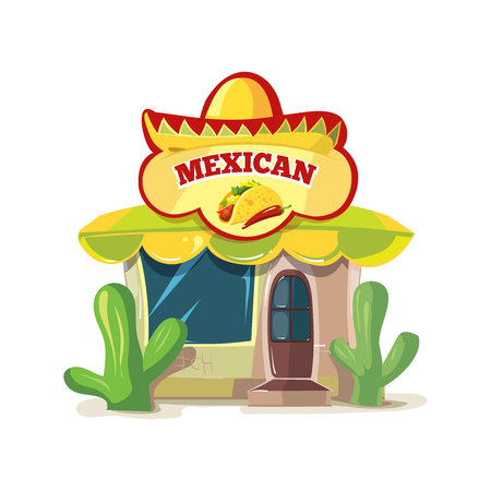 vector illustration of mexican food bar or restaurant building facade. Picture Isolated on white background.