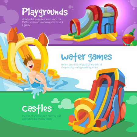bounce: Vector Set of three web banners with picture of inflatable castles and children hills on playground.