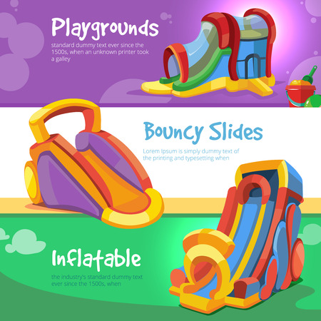 Vector Set of web banners with pictures of inflatable slides and bouncy castles on playground.