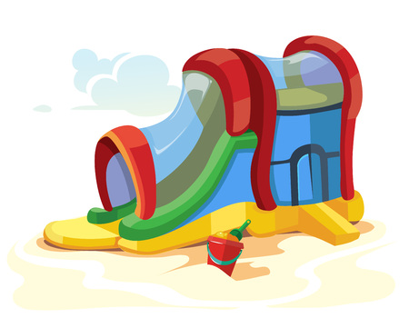 brincolin: Ilustración del vector de toboganes hinchables en parque infantil. Imagen aislado en el fondo blanco