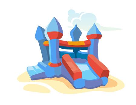 casita de dulces: Ilustración del vector del castillo inflable en el patio. Imagen aislado en el fondo blanco