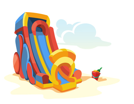 bounce: Vector illustration of big inflatable slides on playground. Picture isolate on white background