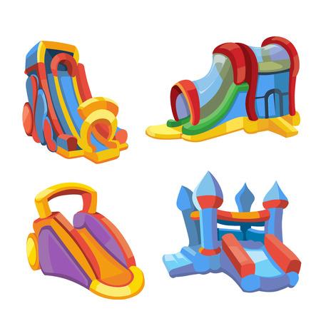 Ilustración vectorial conjunto de castillos hinchables y colinas niños en patio. Fotos en estilo moderno plano, aislar sobre fondo blanco Foto de archivo - 61783496