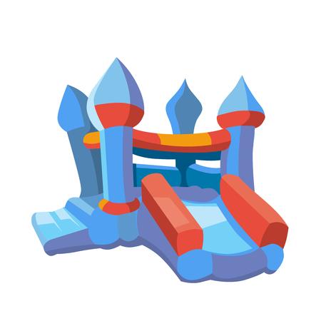 Ilustración del vector del castillo hinchable en patio. juegos inflables para niños. Imagen en estilo moderno plano aislado en el fondo blanco Ilustración de vector