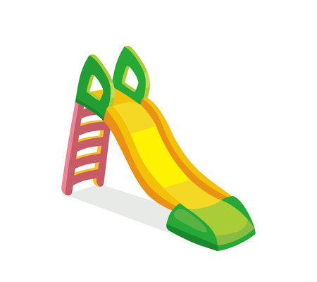 metallic stairs: vector illustration of children slide on playground. Picture isolate on white background. Modern flat style