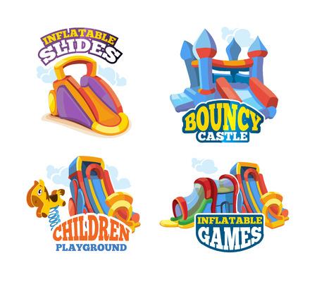 brincolin: ilustración vectorial Conjunto de emblemas de color con los juguetes para los juegos en patio inflable. Publicidad etiquetas con lugar para el texto. Fotos aislar sobre fondo blanco. estilo plano
