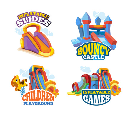 Vector illustration set of color emblems with toys for games on inflatable playground. Advertise labels with place for your text. Pictures isolate on white background. Flat style Ilustração