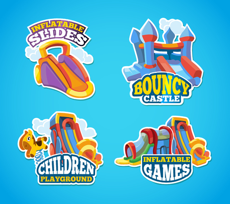 brincolin: Vector illustration set of color emblems with toys for games on inflatable playground. Advertise labels with place for your text. Pictures isolate on blue background. Flat style