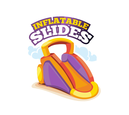 brincolin: Vector illustration of color emblem inflatable slide on playground. Advertise label with place for your text. Picture isolate on white background