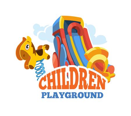 brincolin: Ilustración del vector del emblema de color con los juguetes para los juegos de verano y los niños se desliza en el patio. Publicidad etiqueta con el lugar para su texto. Imagen aislado en el fondo blanco Vectores