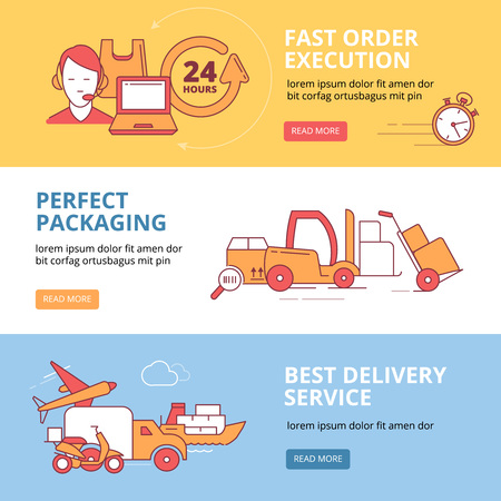 Banners set with vector linear Icons of logistics and delivery. fast Transportation. Monochrome illustrations. Pictures of monoline style. Illustration