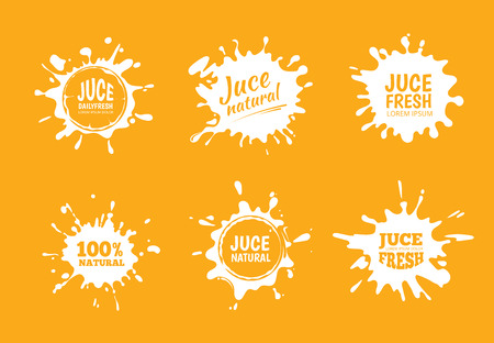 organic fluid: Vector illustration set of Yellow juice or honey labels. Pictures isolate on orange background
