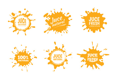Vector illustration set of Yellow juice or honey labels. Pictures isolate on white background