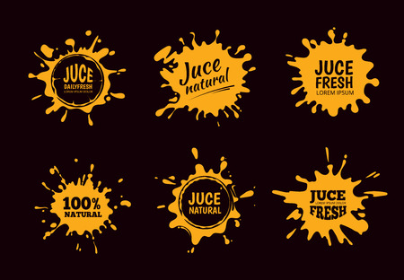 Vector illustration set of Yellow juice or honey labels. Pictures isolate on dark background Stock Photo