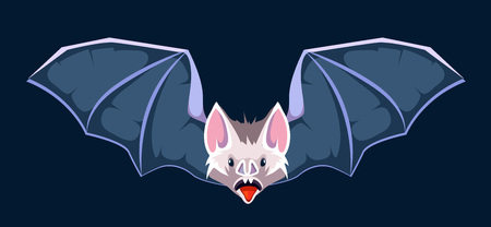 vector cartoon illustration of Bat. Symbol of vampires. Picture isolate on dark background Illustration