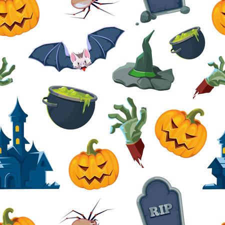 vector seamless pattern of Halloween icons set Illustration