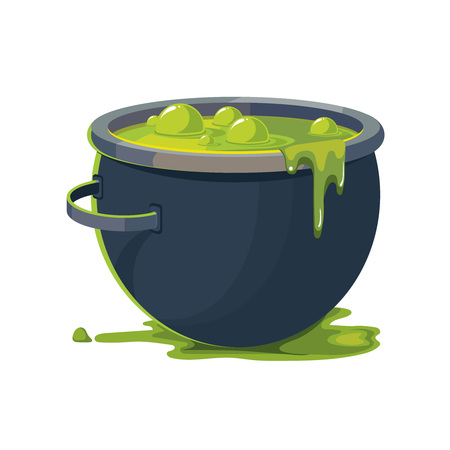Vector Illustration of Witch Cauldron isolate on white background. Symbol of halloween party. Vectores
