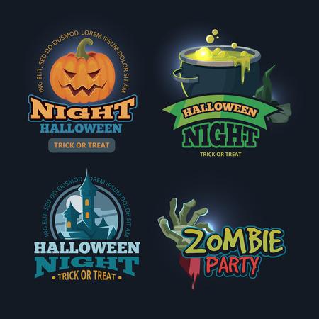 advertize: vector illustration set of halloween badges, emblems isolate on dark background. Design for party invitation with place for your text.