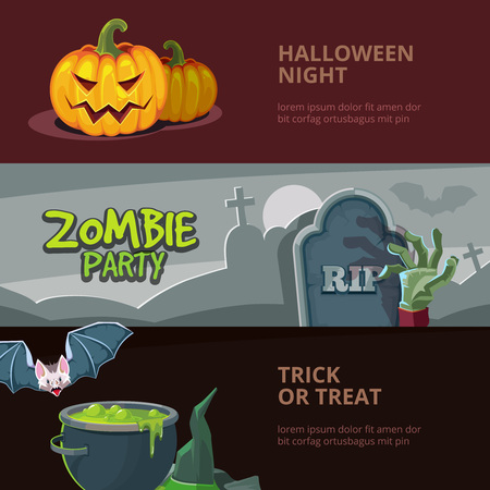 broth: Three horisontal banners with vector illustrations of halloween, isolate on dark background. Design for party invitation with place for your text.