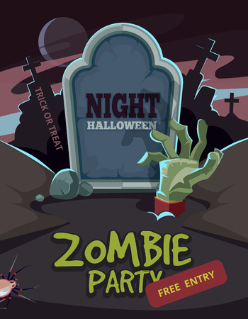 advertize: Zombie party vector illustration. Dead Man arm inside the ground in front of tomb. Invitation for halloween nigt