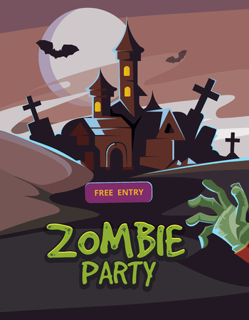 advertize: Zombie party vector illustration. Dead Man arm from the ground and dark castle. Invitation for halloween nigt