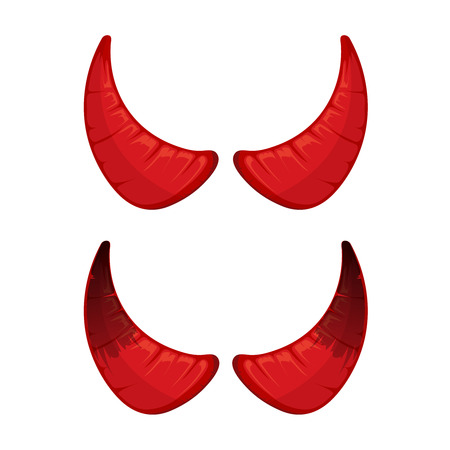 vector illustration of red Devil horns isolate on white background. Picture for halloween party Çizim