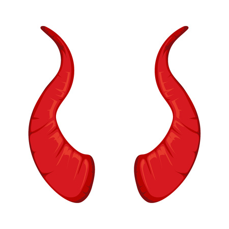 vector illustration of red Devil horns isolate on white background. Picture for halloween party Illustration