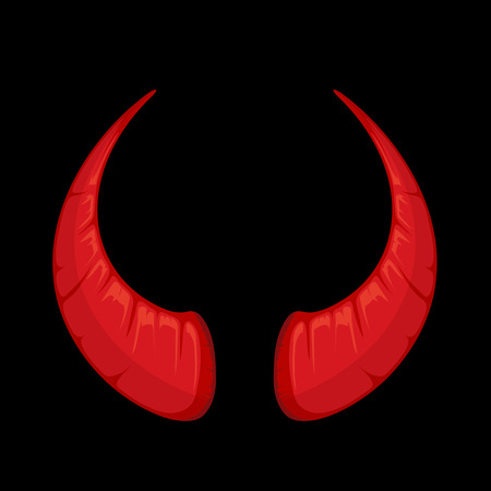 vector illustration of red Devil horns isolate on dark background. Picture for halloween party Illustration